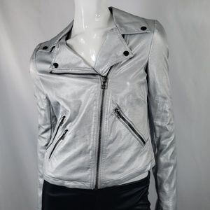 Bar IIISilver faux leather moto jacket S